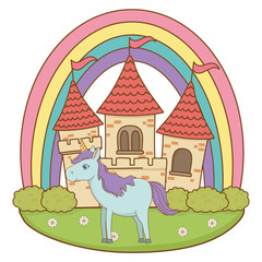 Poster Castle Isolated white unicorn cartoon design vector illustration