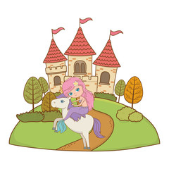 Poster Mermaid and unicorn of fairytale design vector illustration
