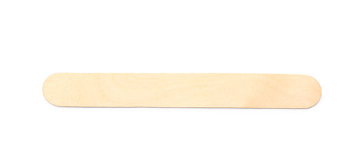 Empty wooden ice cream stick on white background, top view