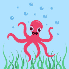 Poster Submarine A cheerful, cute octopus is smiling underwater in the sea Vector illustration in cartoon style.