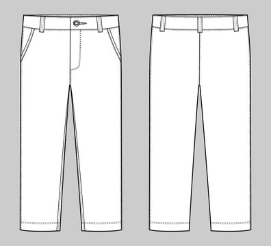 KIds trousers design template. Male pants. Front and back view.