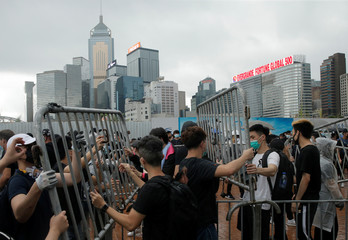 Protesters outside the Legislative Council building as they demonstrate against a proposed extradition bill in Hong Kong
