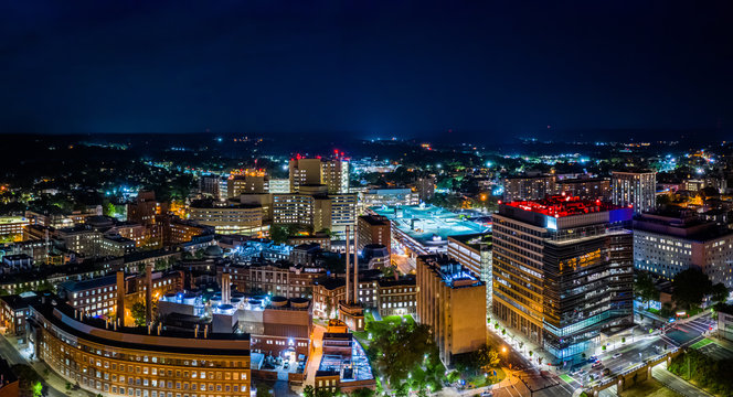 Aerial panorama of New Haven, Connecticut by night. New Haven is the second-largest city in Connecticut after Bridgeport