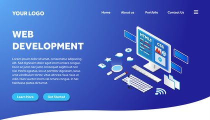 web development isometric creative illustration vector of graphic , small people in web development isometric illustration vector , vector web development isometric for website landing page template Wall mural