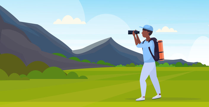 tourist hiker with backpack looking through binoculars hiking concept african american traveler on hike beautiful mountains nature landscape background full length flat horizontal vector illustration