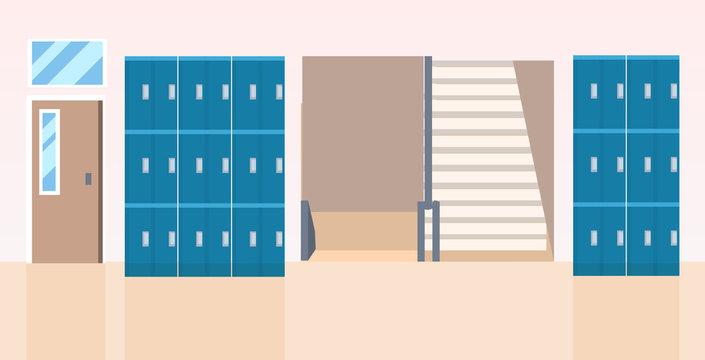 lockers hall near staircase empty no people school corridor interior flat horizontal