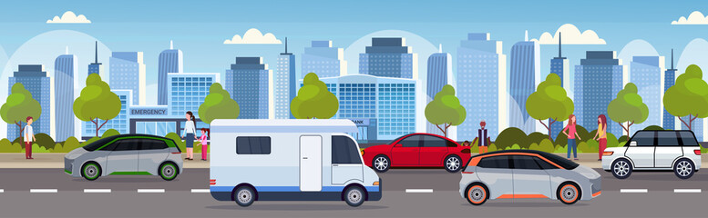 Photo sur Aluminium Cartoon voitures traffic jam with cars and caravan trailer truck driving on city road modern cityscape background flat horizontal banner