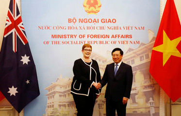 Australia's Foreign Minister Marise Payne poses for a photo with Vietnam's Deputy Prime Minister and Foreign Minister Pham Binh Minh in Hanoi