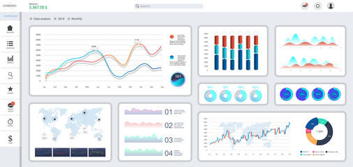 Informative and simple dashboard. Colorful infographics template for business and other projects. Admin panel interface with color charts, graphs, 3D infographics and charts on a white background. Wall mural