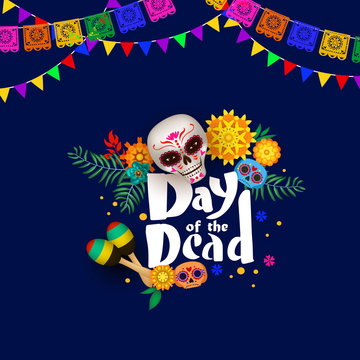 Festive poster for Day of the Dead with sugar skulls