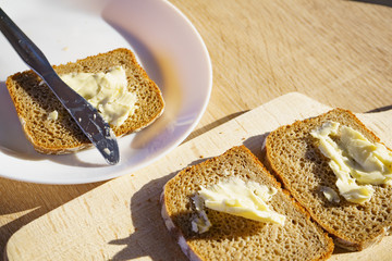 Breakfast. Rye bread slices with butter