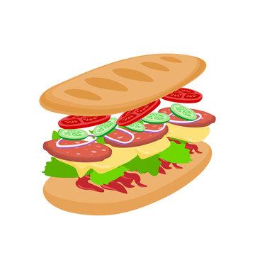 sub sandwich ingredients on white background