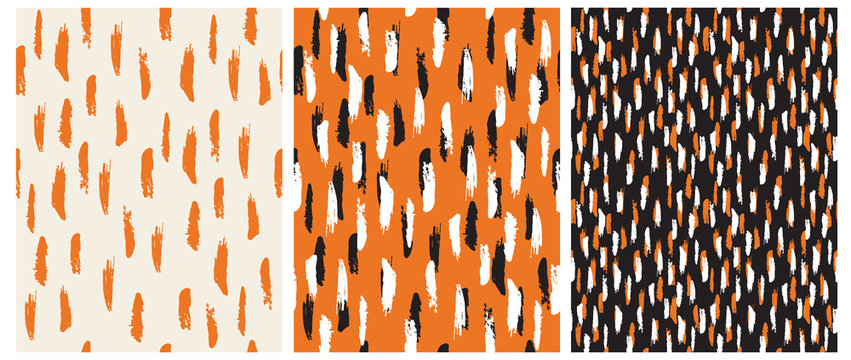 Abstract Hand Drawn Brush Stripes Vector Patterns. Orange, Black and White Stripes on an Orange and Black Backgrounds. Irregular Geometric Repeatable Vector Design for Textile, Wrapping Paper.