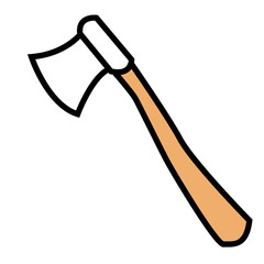 Wooden axe isolated on a white background. Color line art.
