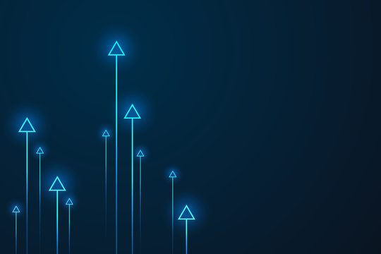 Up arrows on blue background illustration vector for business and finance, copy space composition, minimalist style, growth concept.
