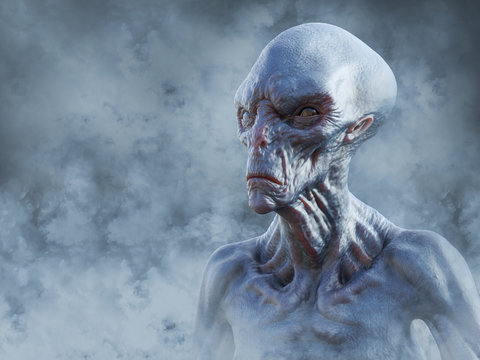3D rendering of an alien creature surrounded by smoke.