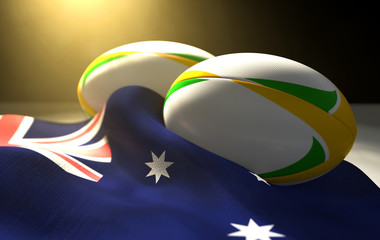 Australia Flag And Rugby Ball Pair