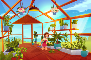 Woman in greenhouse care of garden plants. Girl with shovel in orangery interior with glass walls, windows and wooden floor, place for growing herbs and flowers, inner view Cartoon vector illustration