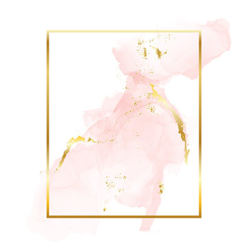 Nude rose gold brush strokes in rectangle foil contour frame. Watercolor rose gold blush texture template