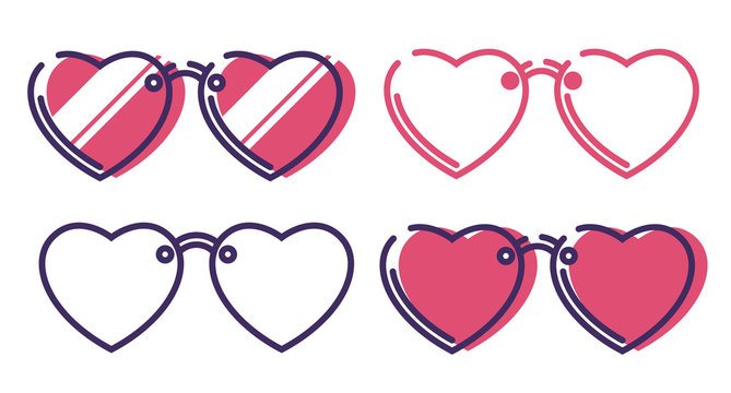 Set of Heart shaped sunglasses line icon for web design isolated on white background. Flat style lineart illustration