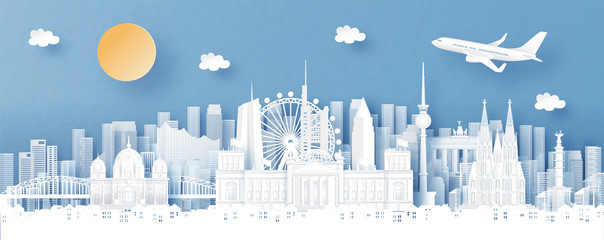 Fototapete - Panorama view of Germany and city skyline with world famous landmarks in paper cut style vector illustration