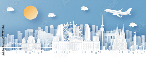 Fototapete Panorama view of Germany and city skyline with world famous landmarks in paper cut style vector illustration