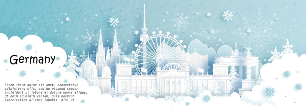 Panorama postcard and travel poster of world famous landmarks of Berlin, Germany in winter season with falling snow in paper cut style vector illustration