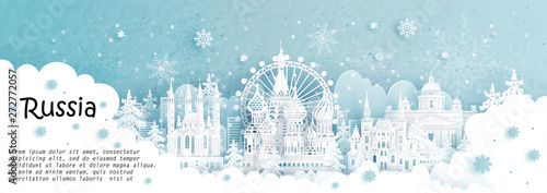 Fototapete Panorama postcard and travel poster of world famous landmarks of Moscow, Russia in winter season with falling snow in paper cut style vector illustration