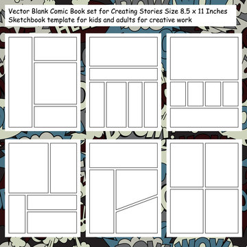 Vector Blank Comic Book set for Creating Stories Size 8.5 x 11 Inches