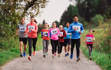 Fototapeta Large group of multi generation people running a race competition in nature. obraz