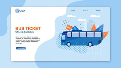 Bus Ticket Online Service Web Design Flat Cartoon.
