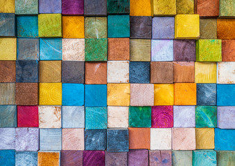 Wood texture block stack on the wall for background, Abstract colorful wood texture. Wall mural