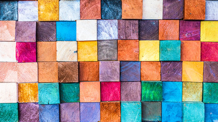 Wood texture block stack on the wall for background, Abstract colorful wood texture. Fotoväggar