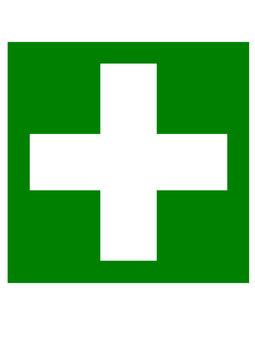 Weißes Kreuz auf grünem Grund