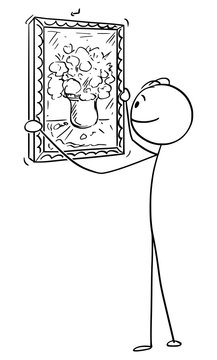 Vector cartoon stick figure drawing conceptual illustration of man hanging painting of flowers in vase painted on canvas on wall in interior.