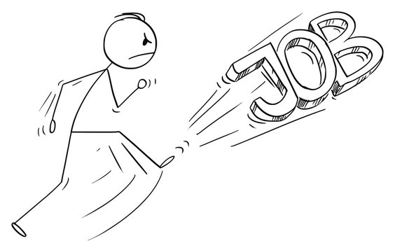 Vector cartoon stick figure drawing conceptual illustration of angry man kicking out the job text or font. Leaving job concept.