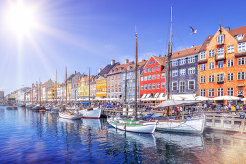 panoramic view at nyhavn on a sunny day