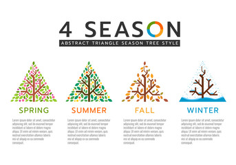 4 season sign with abstract triangle season tree style vector design Fototapete