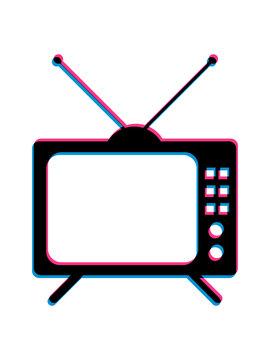 3d fernseher tv retro antenne bildschirm fernsehen schauen klotzen gucken trash zeichen symbol logo clipart design cool
