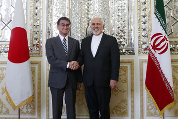 Iranian Foreign Minister Mohammad Javad Zarif meets with Japanese Foreign Minister Taro Kono in Tehran