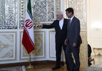Iranian Foreign Minister Mohammad Javad Zarif welcomes Japanese Foreign Minister Taro Kono in Tehran