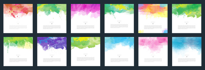 Big set of bright vector colorful watercolor background for poster, brochure or flyer Fotoväggar