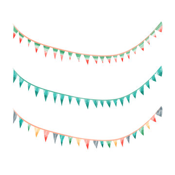 Watercolor vintage flags garlands set in vector. Party and wedding decor elements