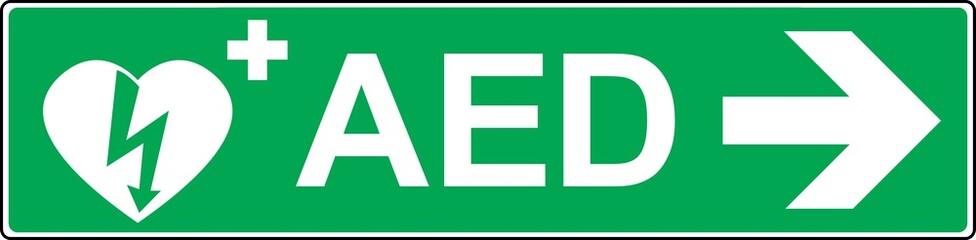 defibrillator emergency sign (D.A.E., A.E.D.)