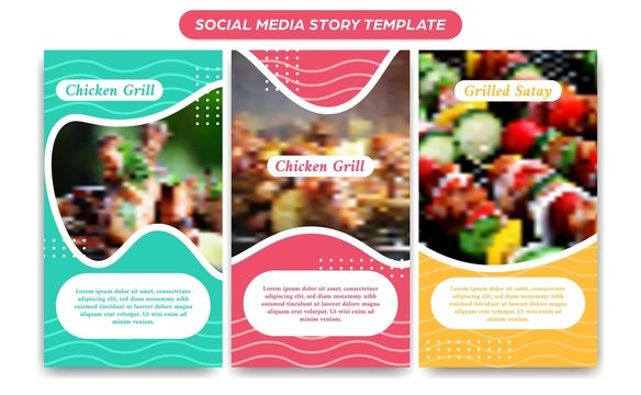 Instagram food story social media template in fresh pastel colorful fun and abstract wave decoration for banner flyer brochure promotion