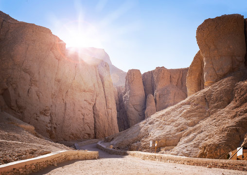 Valley of the kings at sunrise, the burial place in Luxor, Egypt, of ancient pharoahs including Tutankamun