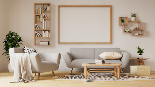 Interior poster mock up living room with colorful white sofa. 3D rendering.