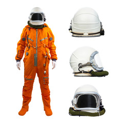 Astronaut with set of helmets isolated on a white background. Cosmonaut wearing space suit with three helmets on white background