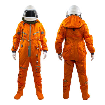 Set of two astronauts isolated on a white background. Cosmonaut wearing space suit with helmet standing against white background. Front and rear views.