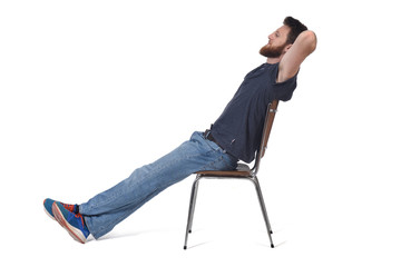 man sitting and relaxed on a chair on white